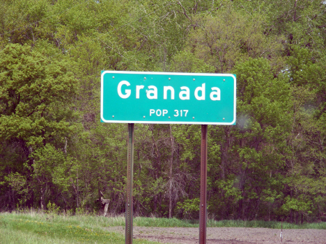 Population sign, Granada Minnesota, 2014