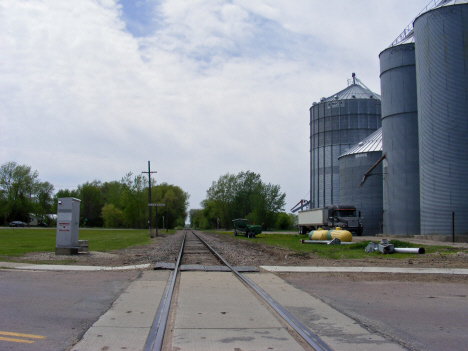 Railroad and grain elevators, Granada Minnesota, 2014