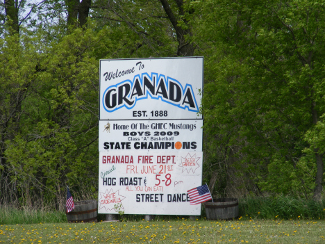 Welcome sign, Granada Minnesota, 2014