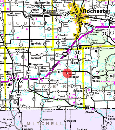 Minnesota State Highway Map of the Grand Meadow Minnesota area