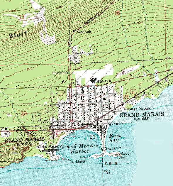 Topographic map of the Grand Marais Minnesota area