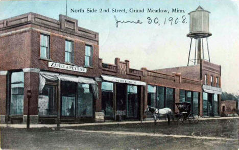 North side, Second Street, Grand Meadow Minnesota, 1908