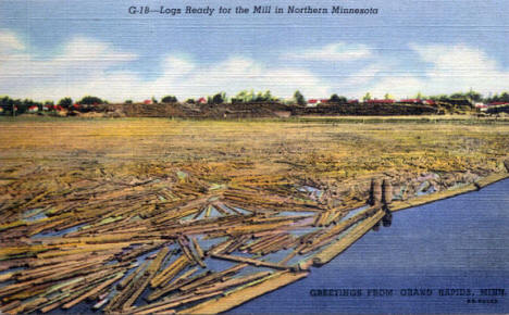 Logs ready for the mill at Grand Rapids Minnesota, 1946