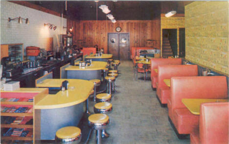 Interior view of Mickey's Cafe, located across from the Great Northern Depot in Grand Rapids, Minnesota, 1950's