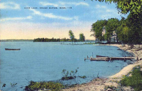 View of Deer Lake, Grand Rapids Minnesota, 1940's