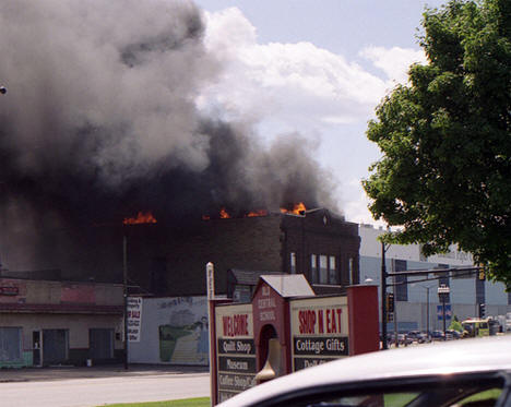 103-year-old building on the corner of First Avenue Northwest and Highway 2 in downtown Grand Rapids, Minnesota burns, July 2nd, 2006