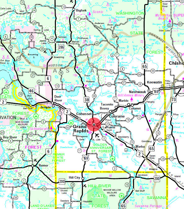 Minnesota State Highway Map of the Grand Rapids Minnesota area