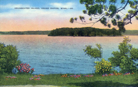 Drumbeater Island in Lake Pokegama, Grand Rapids Minnesota, 1940's