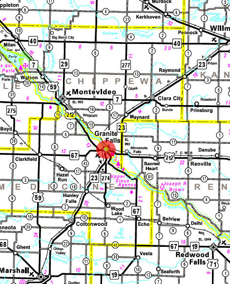 Minnesota State Highway Map of the Granite Falls Minnesota area