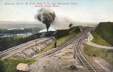 C. M. & St. Paul Railroad and Minnesota River, Granite Falls Minnesota, 1914