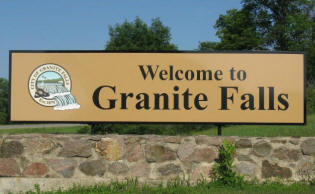 Granite Falls Minnesota welcome sign