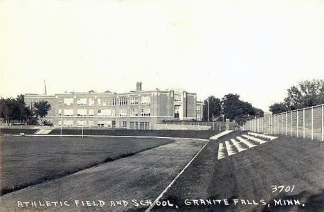 Athletic Field and School, Granite Falls Minnesota, 1940's