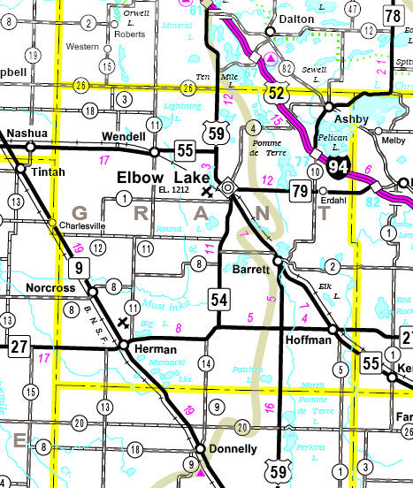 Minnesota State Highway Map of the Grant County Minnesota area
