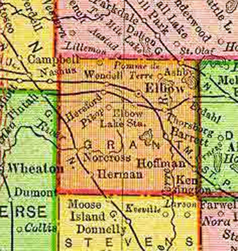 1895 Map of Grant County Minnesota