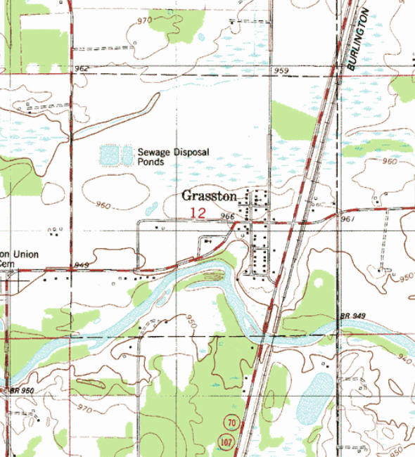 Topographic map of the Grasston Minnesota area