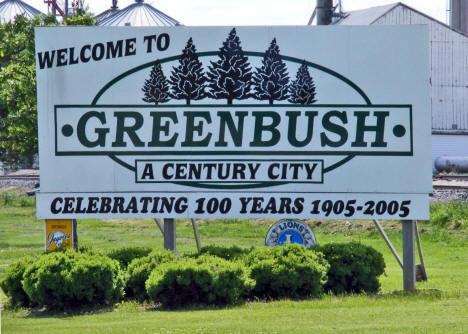 Welcome sign, Greenbush Minnesota, 2009