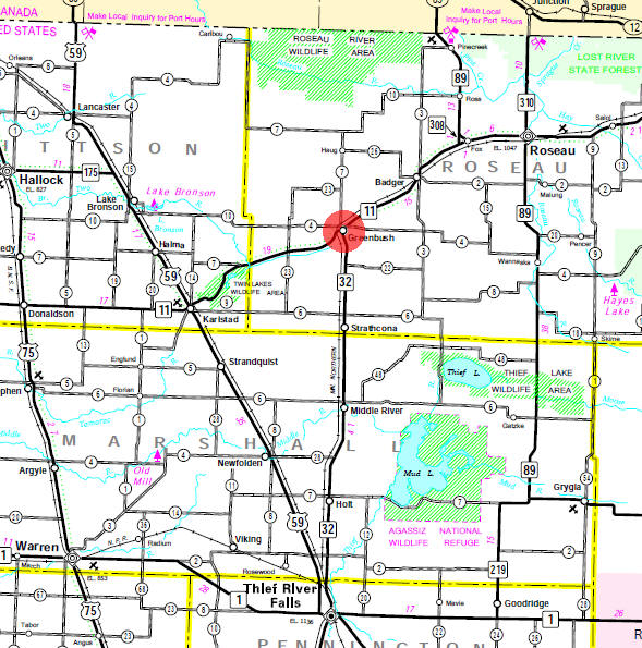 Minnesota State Highway Map of the Greenbush Minnesota area