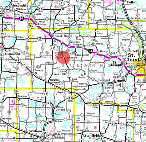 Minnesota State Highway Map of the Greenwald Minnesota area