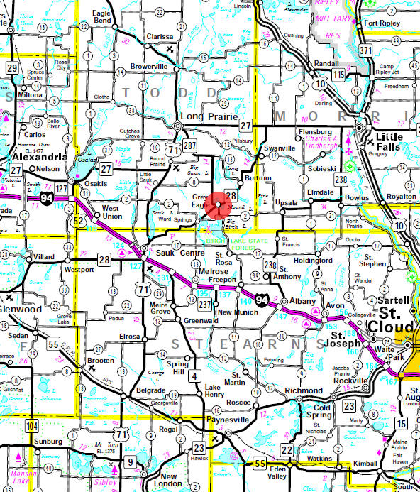 Minnesota State Highway Map of the Grey Eagle Minnesota area
