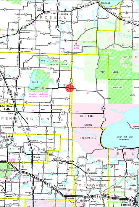 Minnesota State Highway Map of the Grygla Minnesota area