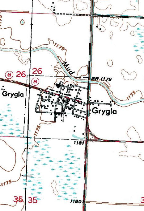 Topographic Map of the Grygla Minnesota area