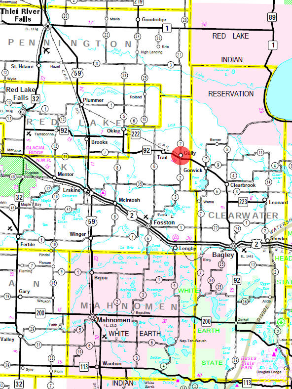 Minnesota State Highway Map of the Gully Minnesota area