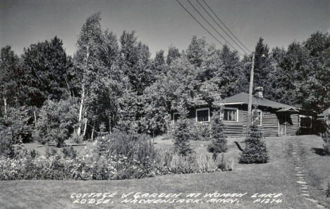 Cottage and Garden at Woman Lake Lodge, Hackensack Minnesota, 1940's