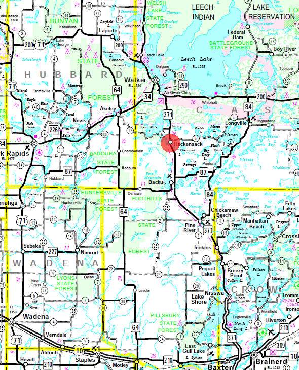 Minnesota State Highway Map of the Hackensack Minnesota area