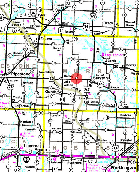 Minnesota State Highway Map of the Hadley Minnesota area