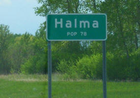 Halma Minnesota population sign