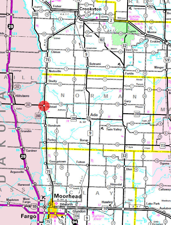 Minnesota State Highway Map of the Halstad Minnesota area
