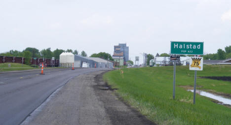 Population sign and view entering Halstad Minnesota, 2008