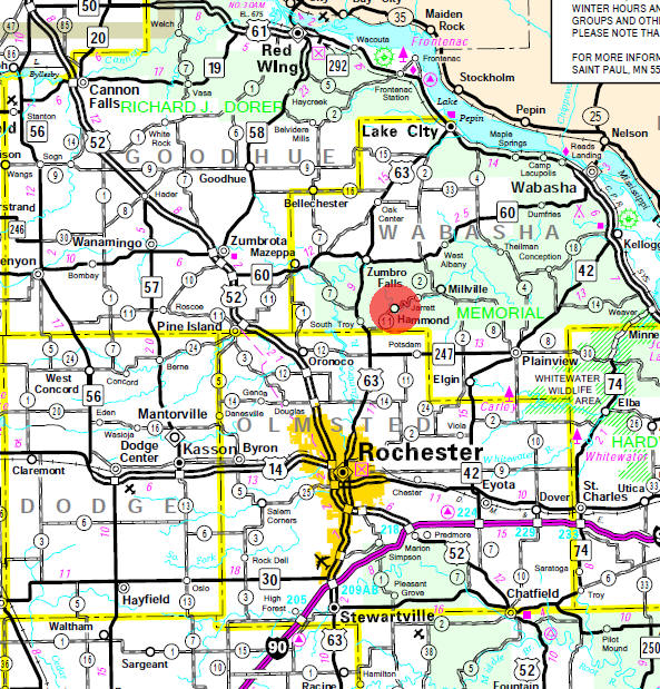 State Highway Map of the Hammond Minnesota area
