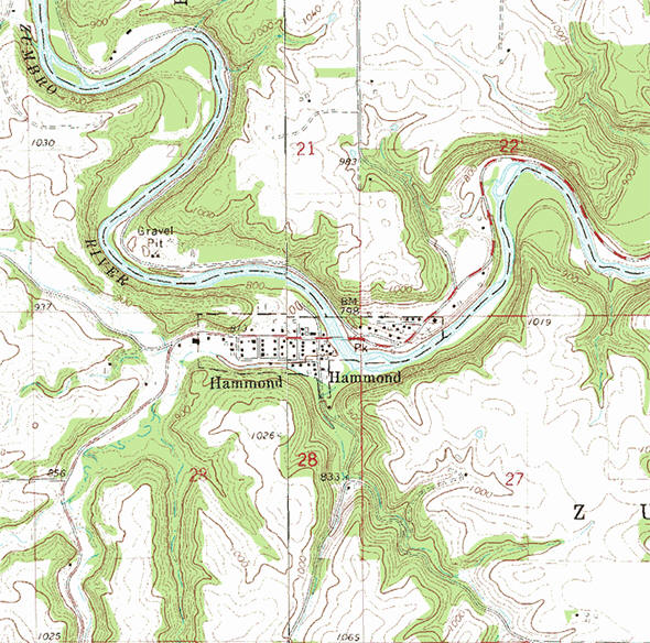 Topographic map of the Hammond Minnesota area