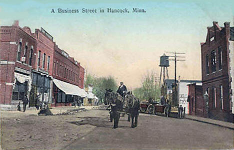 Business Street in Hancock Minnesota, 1900's