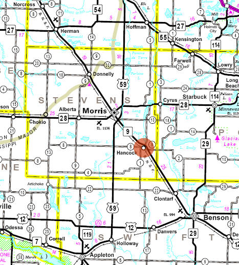 Minnesota State Highway Map of the Hancock Minnesota area