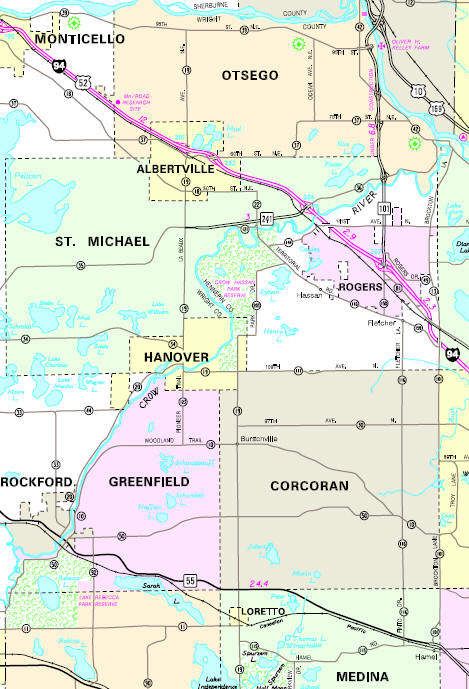 Minnesota State Highway Map of the Hanover Minnesota area