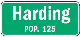 Harding Minnesota population sign