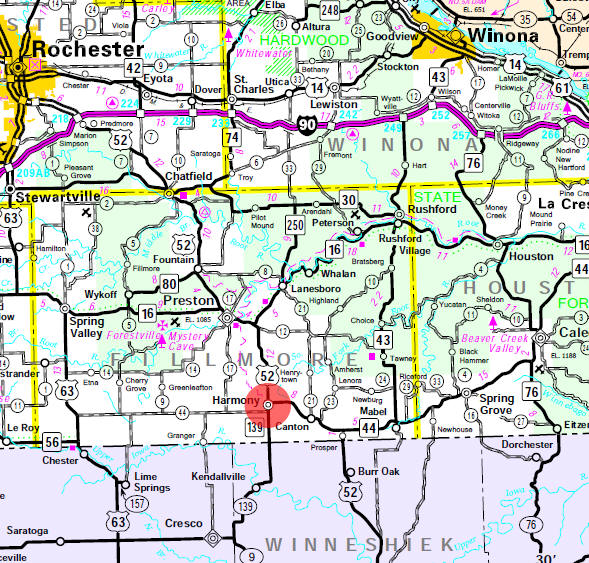 Minnesota State Highway Map of the Harmony Minnesota area