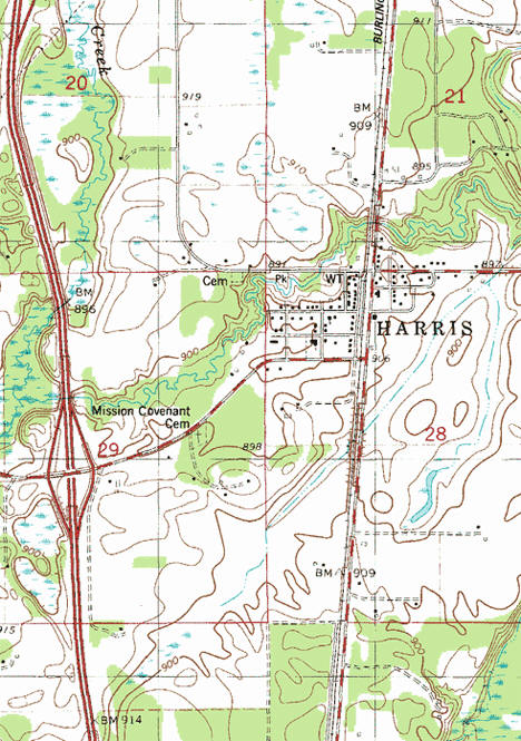 Topographic map of the Harris Minnesota area
