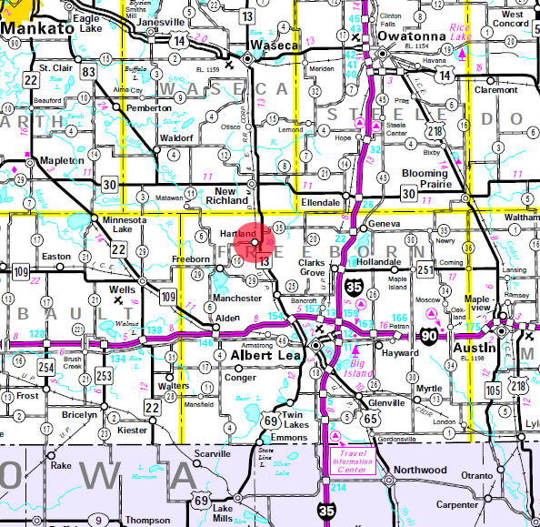 Minnesota State Highway Map of the Hartland Minnesota area