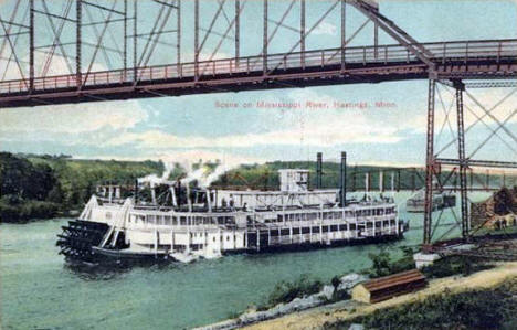 Bridge and Steamboat, Hastings Minnesota, 1913
