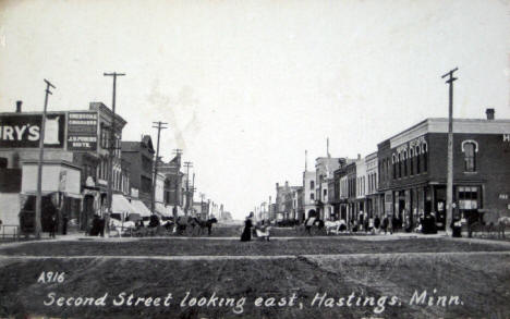 Second Street looking east, Hastings Minnesota, 1915