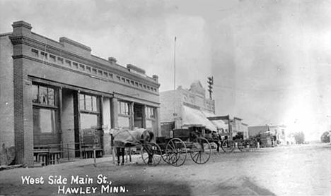 West side, Main Street, Hawley Minnesota, 1908