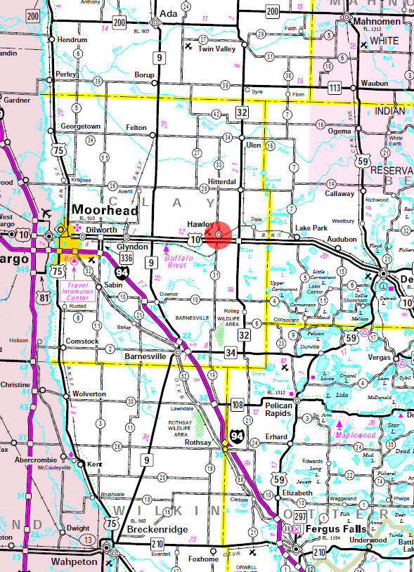 Minnesota State Highway Map of the Hawley Minnesota area
