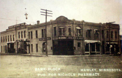 Bank Block, Hawley Minnesota, 1910's