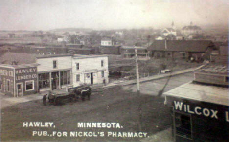 Birds eye view, Hawley Minnesota, 1910's