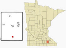 Location of Hayfield, Minnesota