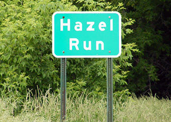 Hazel Run Minnesota road sign