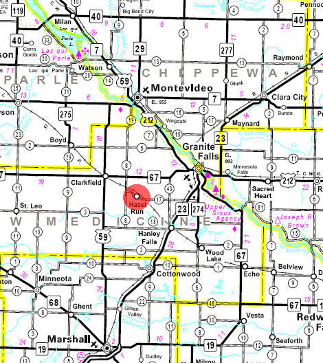 Minnesota State Highway Map of the Hazel Run Minnesota area